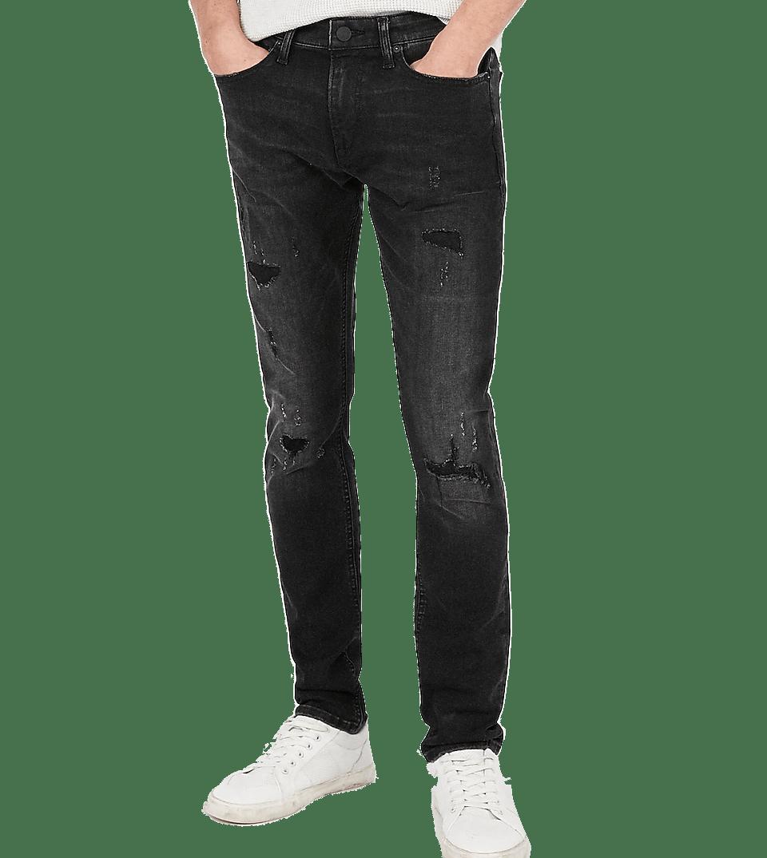 Skinny Black Hyper Ripped Stretch Jeans Express Men