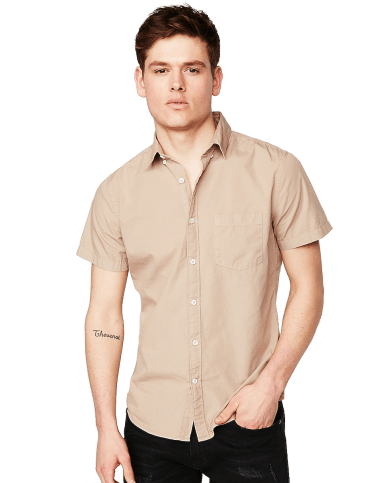 Slim Garment Dyed Button-Down Short Sleeve Shirt