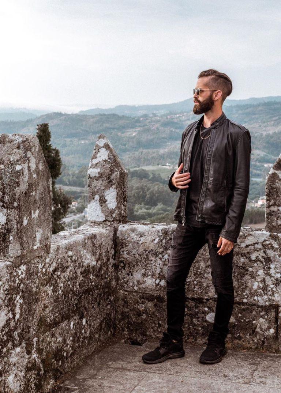 Michael Checkers wearing Asos streetwear in Spain