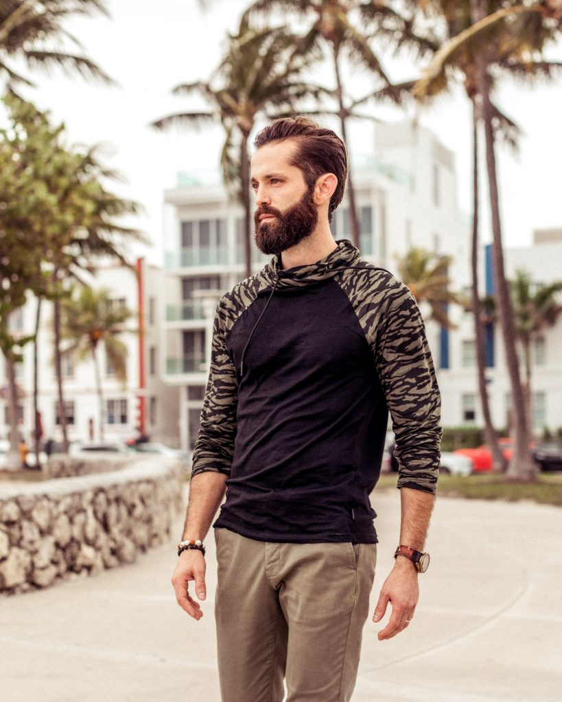 Michael Checkers wearing Express men in South Beach winter