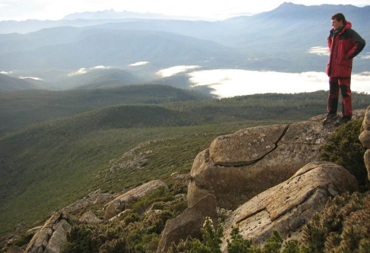 John Traynor on the dolerite summit of Mt. Picton, Southwestern Tasmania,