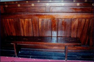 An example of a numbered convict bench in the synagogue (Hobart Synagogue online gallery)