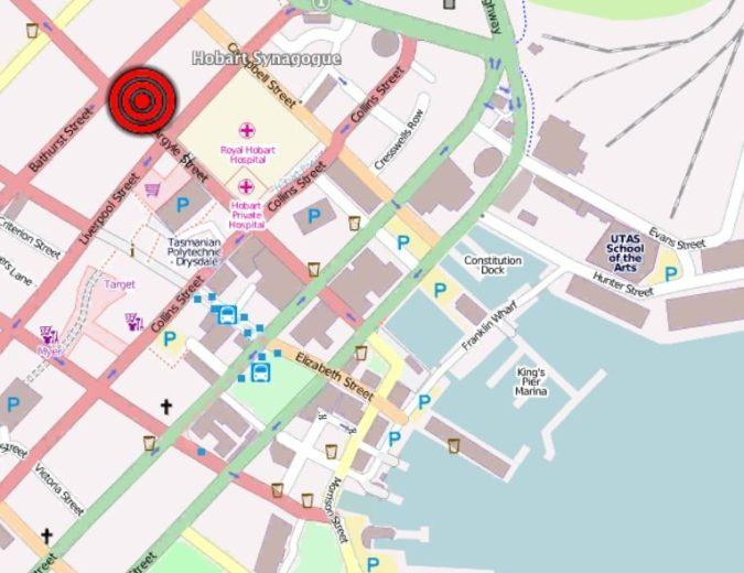 Location of Hobart Synagogue (Map via OpenStreetMap)