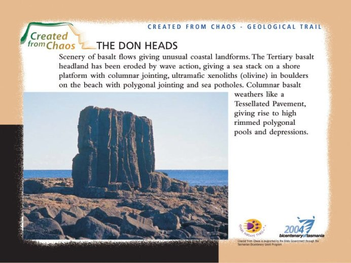 Don Heads plaque from geogical trail.
