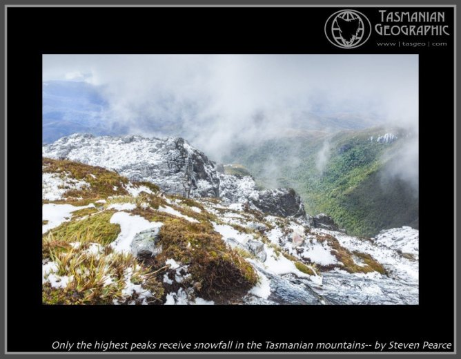 Only the highest peaks receive snowfall in the Tasmanian mountains-- by Steven Pearce