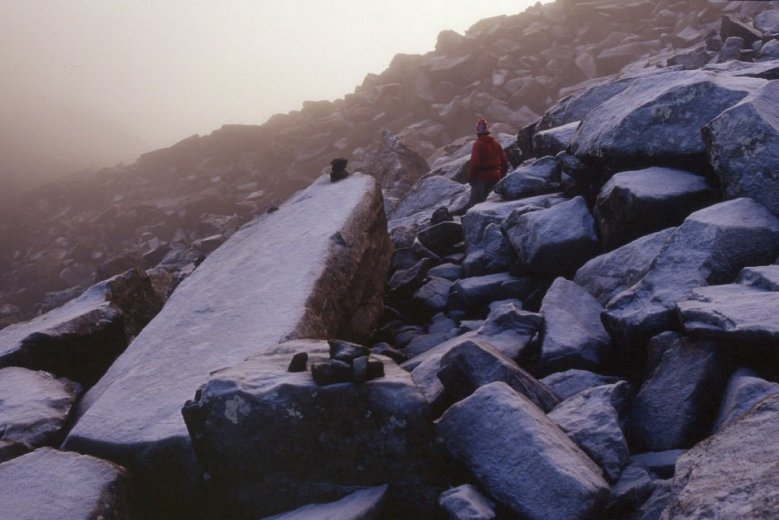 Jann Troutet negotiating a rock scree leading to the summit of Mt Anne - by Angus Munro