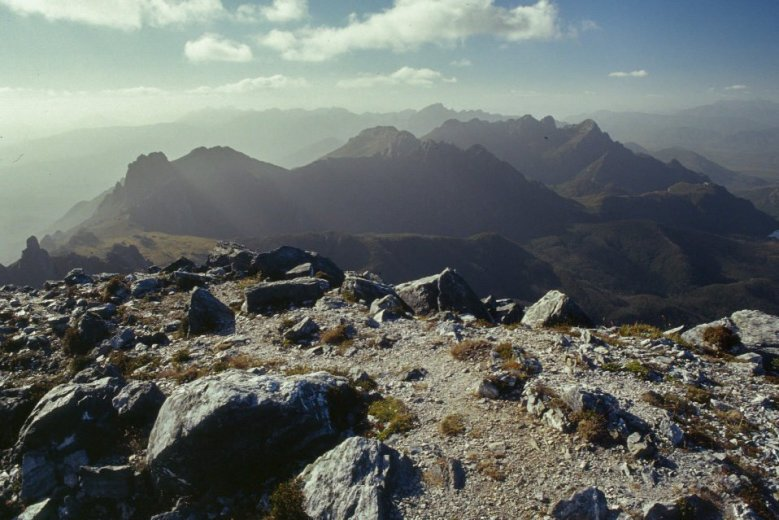 Looking along the Eastern Arthurs from Federation Peak - by Angus Munro