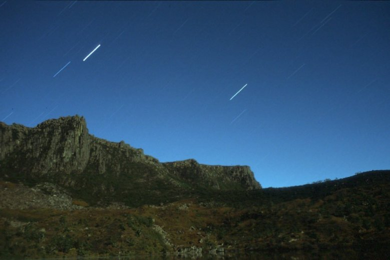 Star trails over Mt Olympus, from Lake Oenone - by Angus Munro