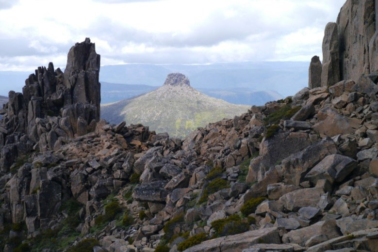 Returning to Pelion Gap from Mt Ossa, on the Overland Track, Tasmania