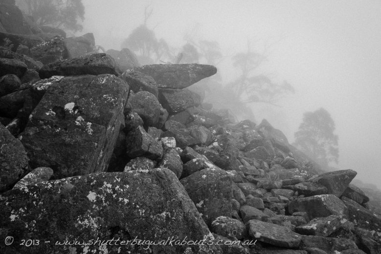 Dolerite rocks and fog-Wellington Park-Mt Wellington- by Shutterbug Walkabouts