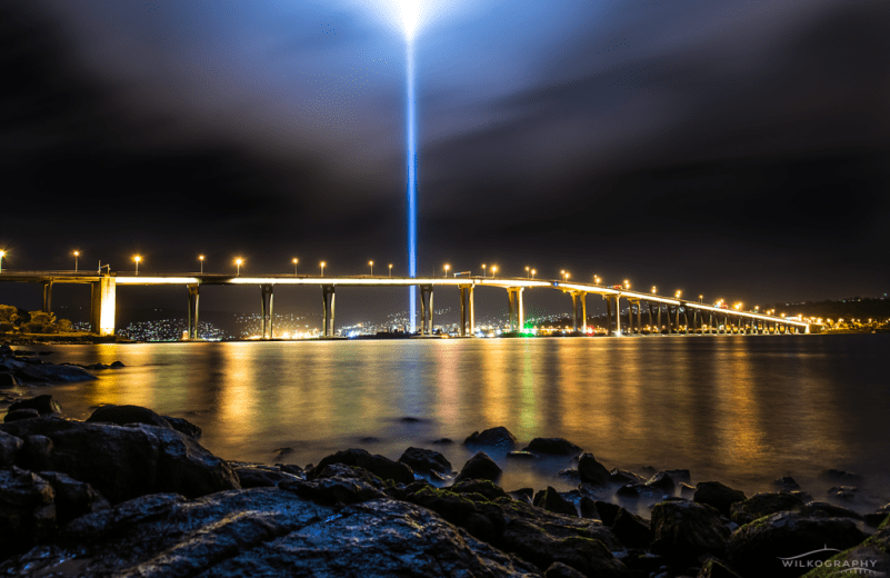 DARK MOFO Ryoji Ikeda's Spectra light tower over Tasman Bridge - Copyright by Ben Wilkinson - Wilkography