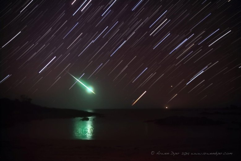 Fireball Star Trail, the Dock. - by Arwen Dyer