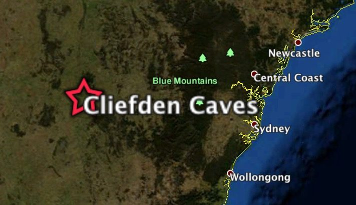 NASA imagery of Cliefden Caves location