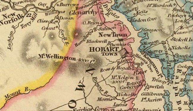 Detail from Van Diemens Land 1834 by J Arrowsmith - courtesy David Rumsey Map Collection - 002