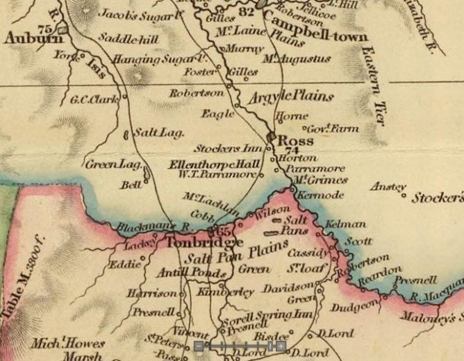 Detail from Van Diemens Land 1834 by J Arrowsmith - courtesy David Rumsey Map Collection - 005