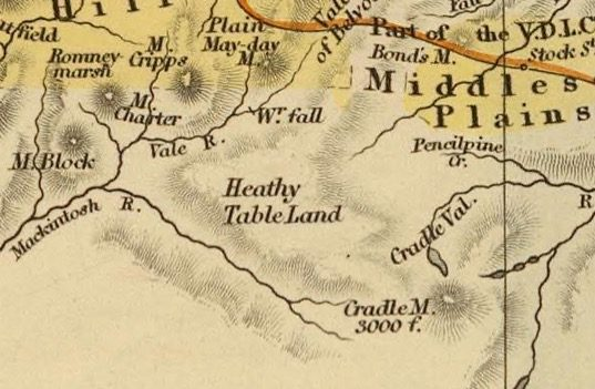 Detail from Van Diemens Land 1834 by J Arrowsmith - courtesy David Rumsey Map Collection - 010
