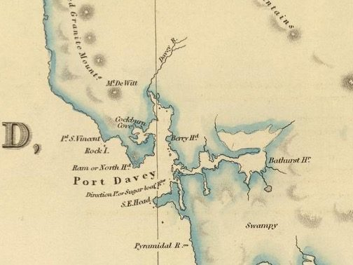Detail from Van Diemens Land 1834 by J Arrowsmith - courtesy David Rumsey Map Collection - 022