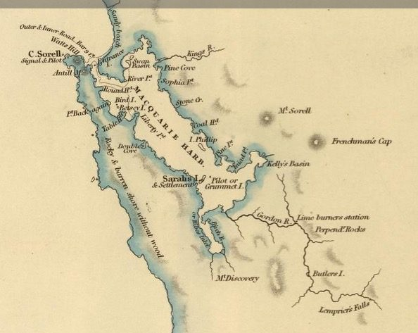 Detail from Van Diemens Land 1834 by J Arrowsmith - courtesy David Rumsey Map Collection - 024