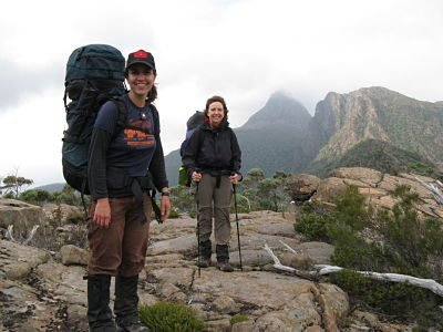 Steph & Teri, Mt Gould the peak on the left and Minotaur on the right