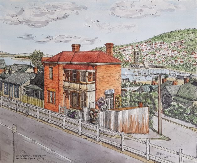 St Georges Terrace, Battery Point - Drawing by Horst Tiefholz