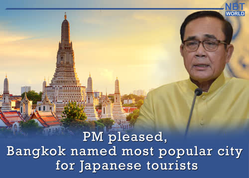 PM pleased, Bangkok named most popular city for Japanese tourists