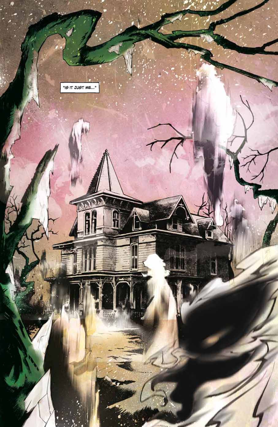 Horror Cartoonists Mark Torres; Blurry ghosts surrounding an old mansion.