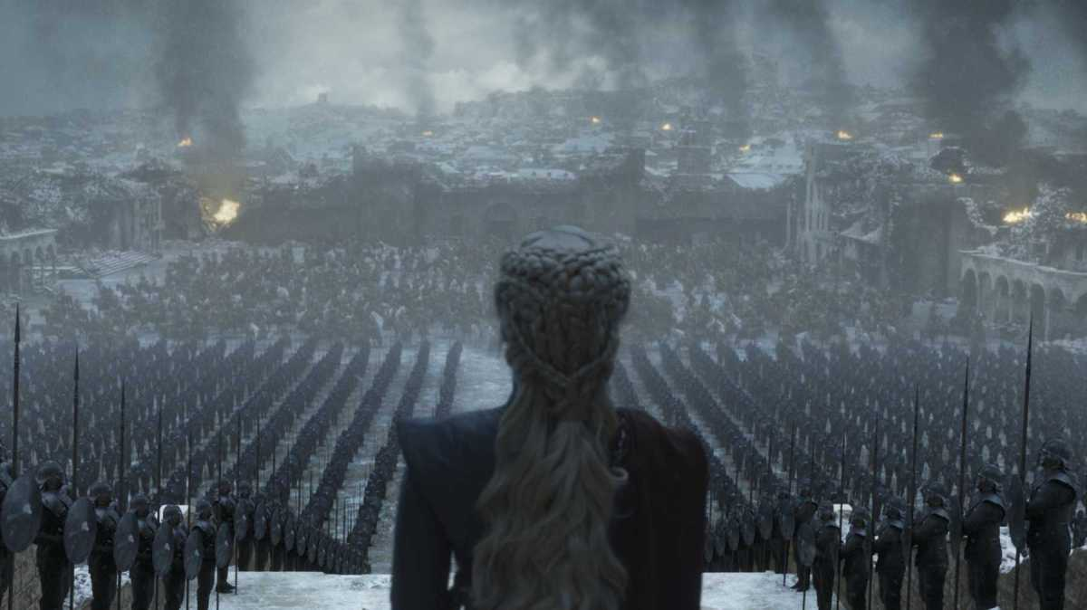 Daenerys Targaryen overlooks her army.