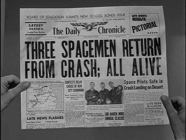 "A newspaper indicates that three astronauts have returned home safely in the classic ""And The Sky Was Opened."""