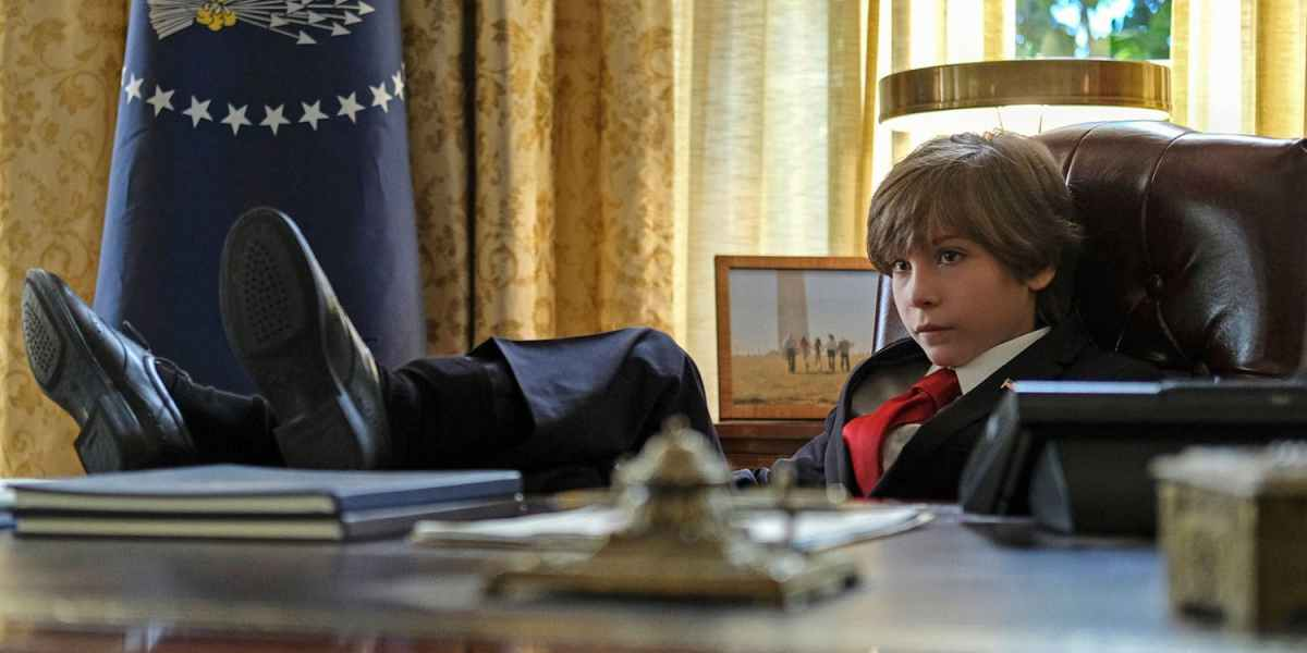 "Jacob Tremblay sits behind the desk in the Oval Office in the episode ""The Wunderkind"" of the rebooted Twilight Zone series."
