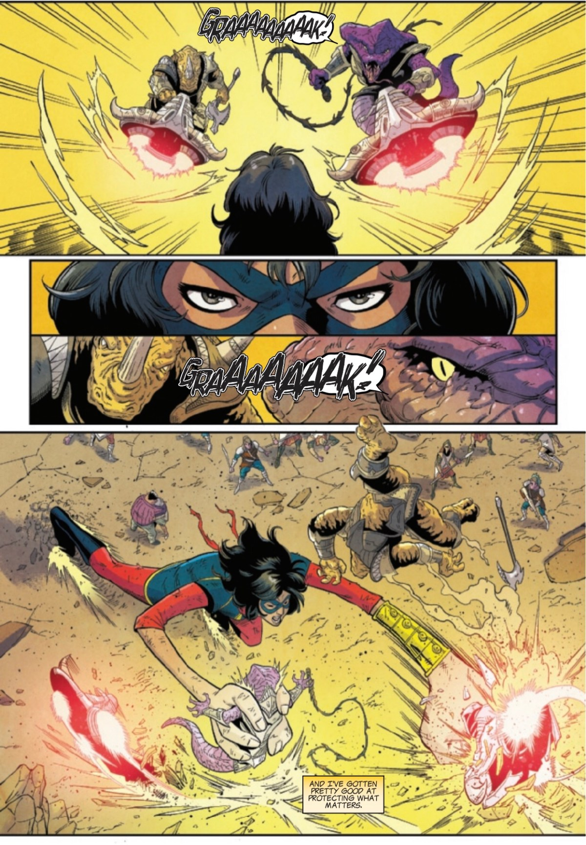 Ms Marvel fights off the Beast Legions on page 4 of The Magnificent Ms Marvel #5.