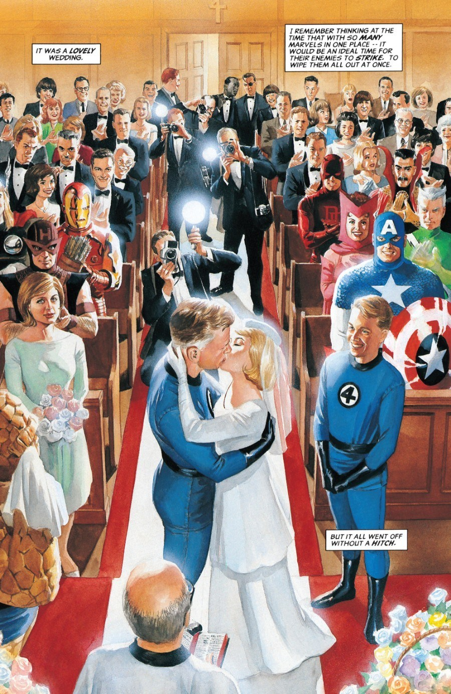The wedding of Reed Richards and Sue Storm in Marvels #2.