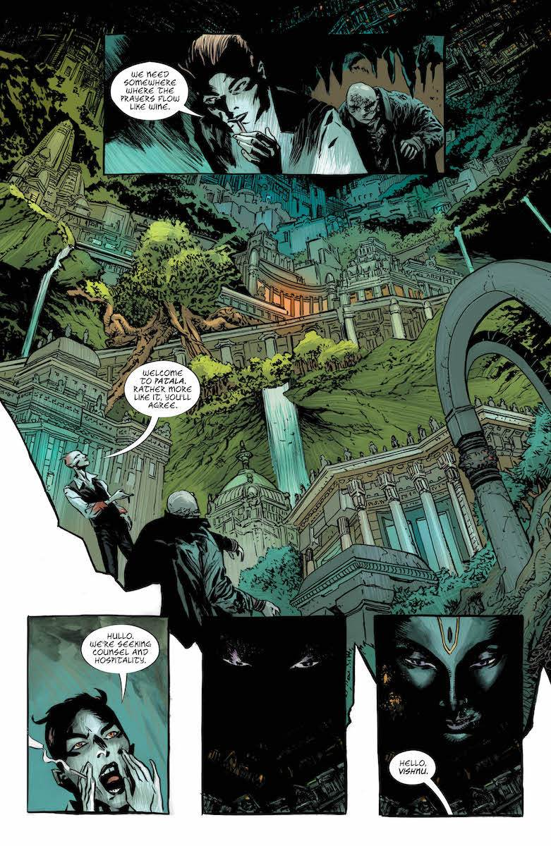 Lucifer #10: Page 4, Lucifer and Caliban arrive in Patala.