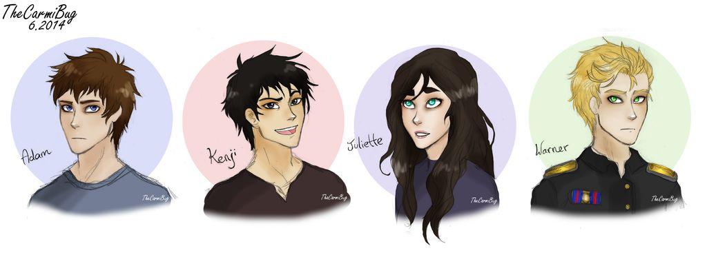 Shatter Me fan made portraits of Adam, Kenji, Juliette, and Warner.