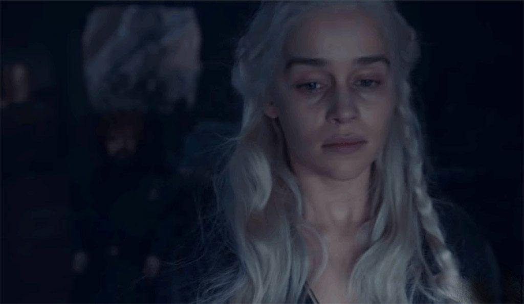 Daenerys Targaryen mourns the loss of Missandei in Game of Thrones Season 8.