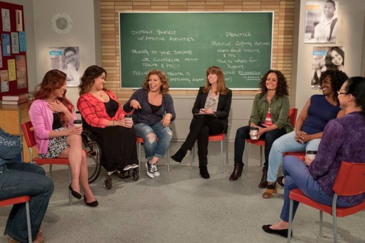 Justina Machado as Penelope in One Day At A Time with her therapy group.