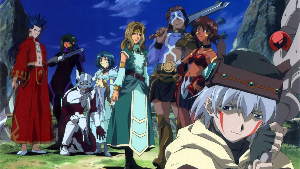 Standing from left to right: Crim, Sora, Silver Knight, Subaru, B.T, Bear, Mimiru, and Tsukasa.