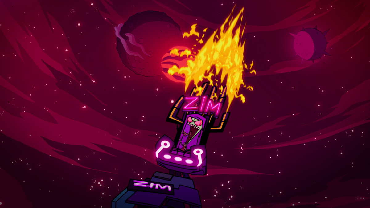 Zim sitting on his throne that shoots out fire.