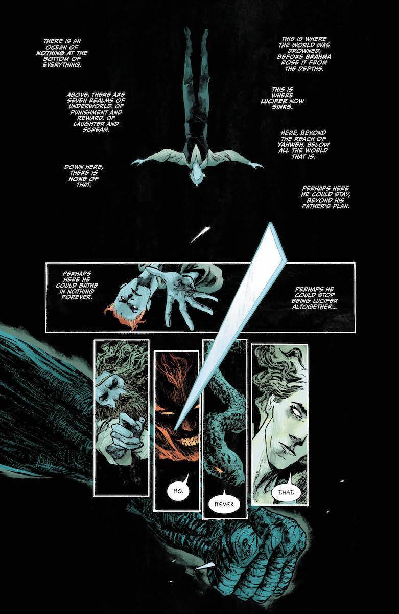 Lucifer #11: Page #1, Lucifer drifts into the ocean of nothing.