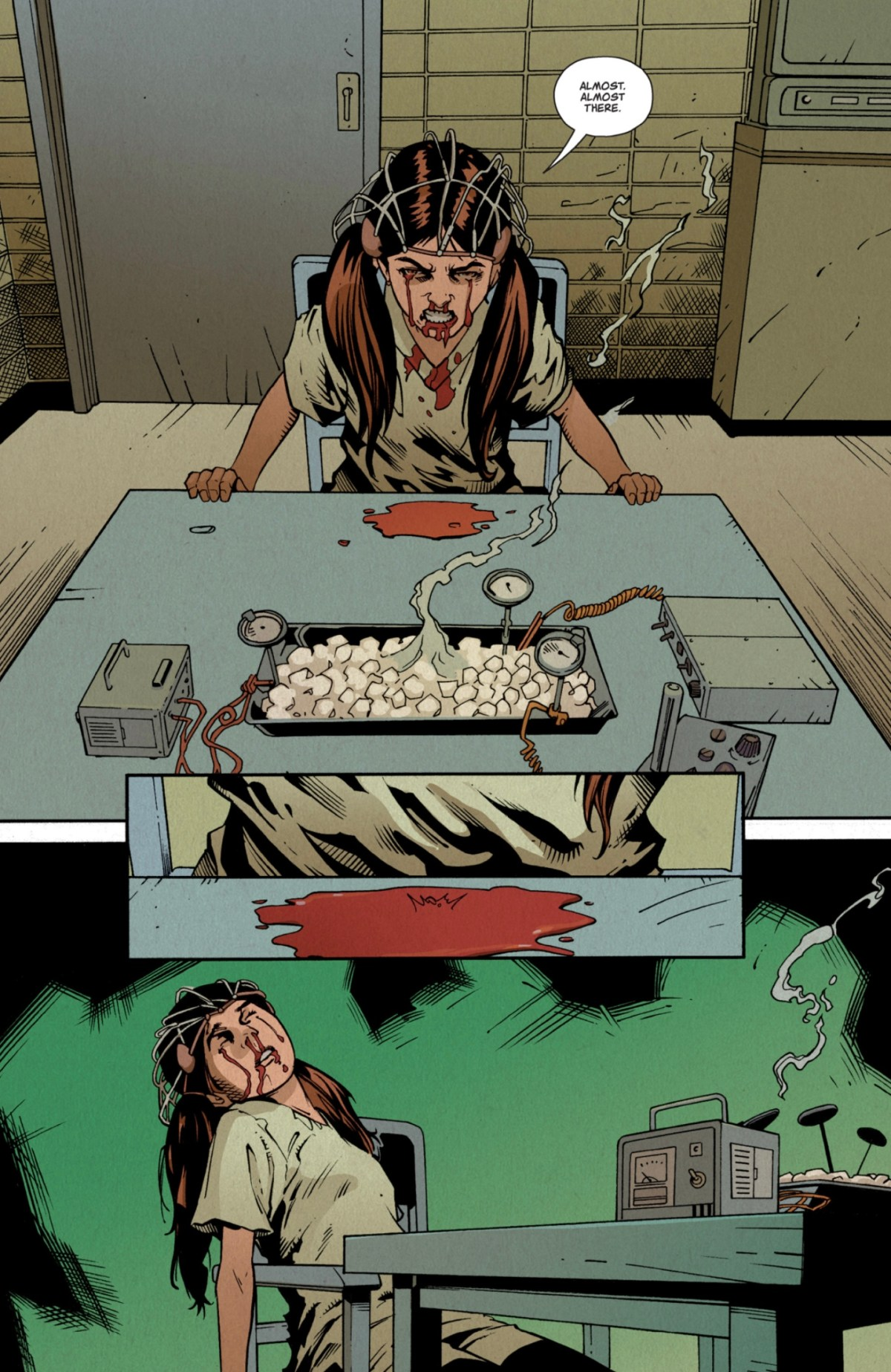 Stranger Things -- Page 18 -- Nine has blood coming out of her eyes and is passed out.