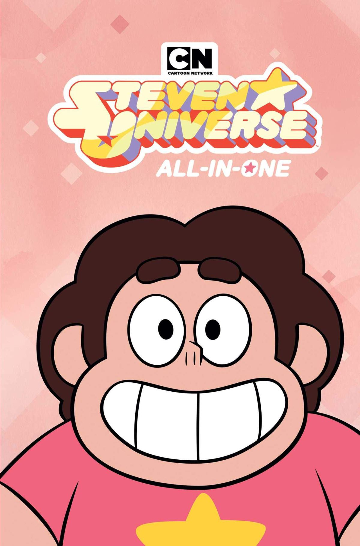 Steven Universe smiling on the cover of Steven Universe All-In-One Edition comic collection.