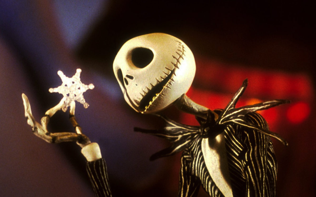 """Tim Burton's movie """"The Nightmare Before Christmas"""", Jack Skellington bemused by the fragile intricacy of a snowflake."""