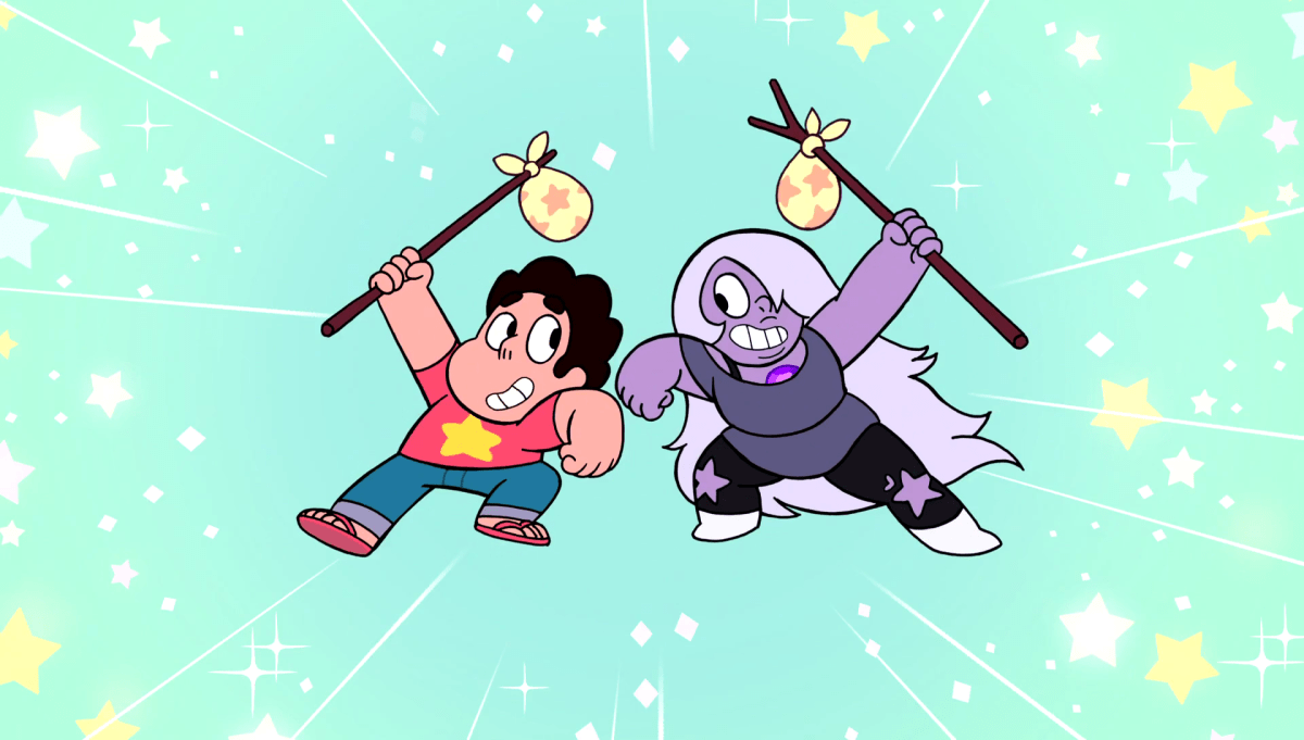 Steven Universe, Episode On The Run, Steven and Amethyst with their hobo sacks.