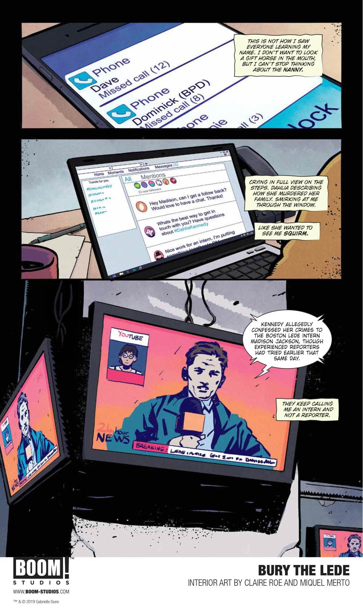 BURY THE LEDE, Page 6, BOOM! Studios 2019.