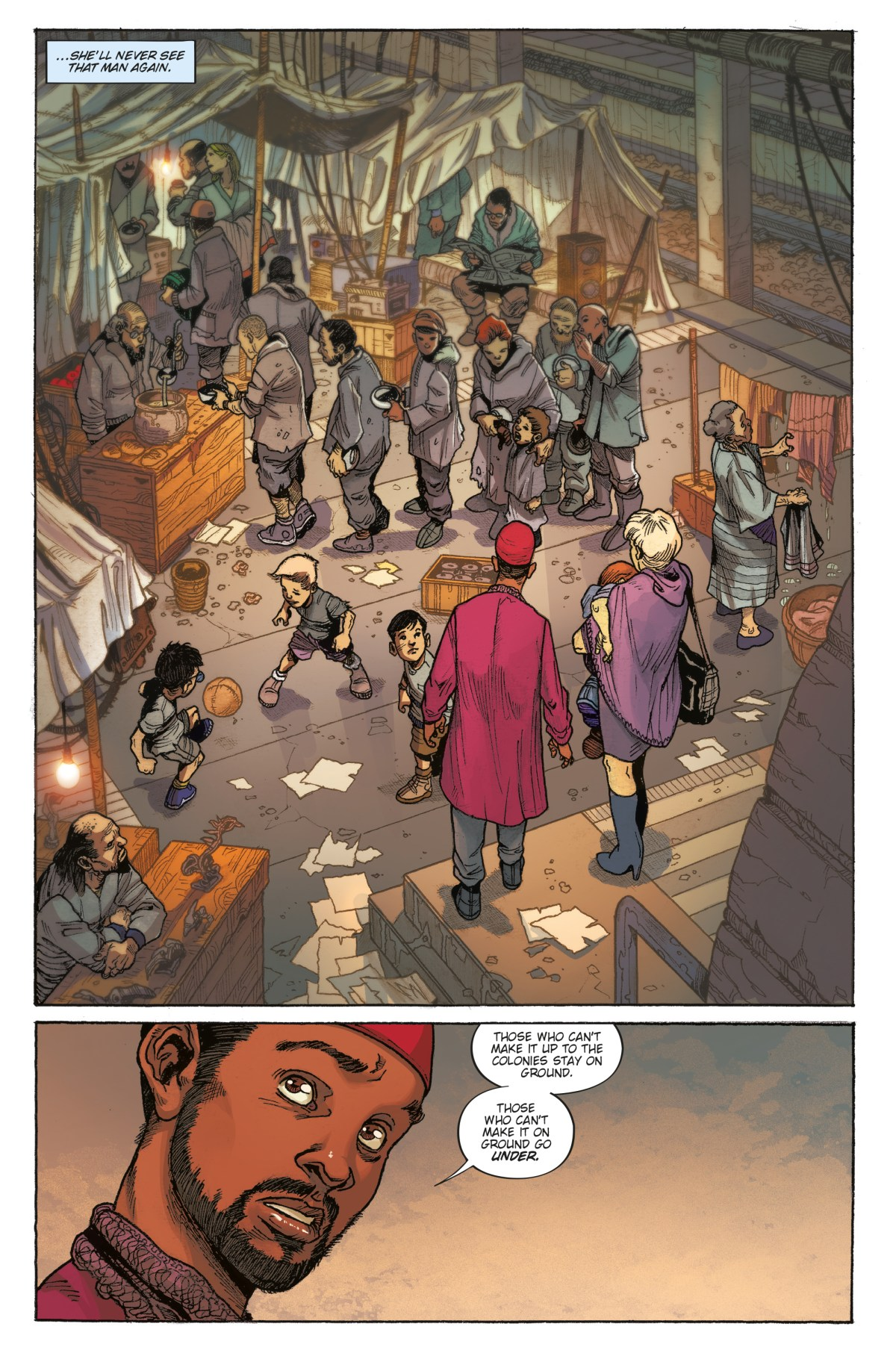 Isobel and Cleo see a camp for the homeless in Blade Runner 2019 #2.
