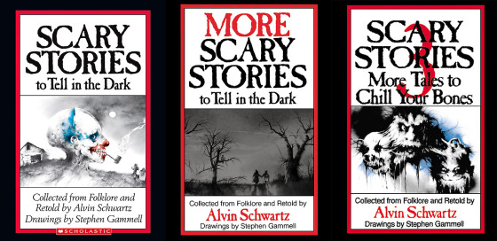 Scary Stories to Tell in the Dark series by Alvin Schwartz. Published by Scholastic Books.