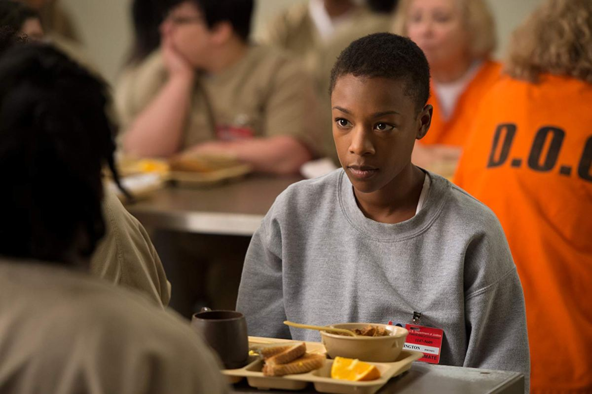 Poussey Washington eating in Orange Is The New Black