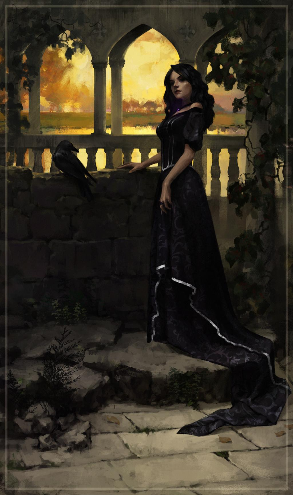 Yennefer in the Temple of Melitele in Ellander