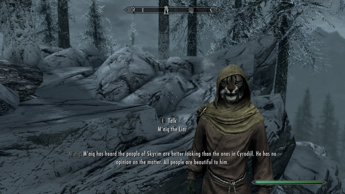 Elder Scrolls: M'aiq the Liar speaks to a Skyrim player.