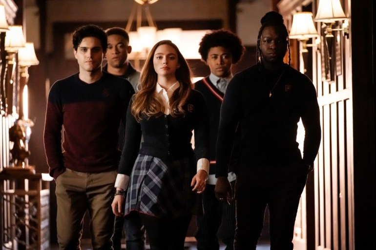 """Legacies -- """"What Was Hope Doing in Your Dreams?"""" -- Image Number: LGC113a_0461bc.jpg -- Pictured (L-R): Aria Shahghasemi as Landon, Peyton Alex Smith as Rafael, Danielle Rose Russell as Hope, Quincy Fouse as MG, and Christopher De'Sean Lee as Kaleb -- Photo: Jace Downs/The CW -- © 2019 The CW Network, LLC. All rights reserved."""