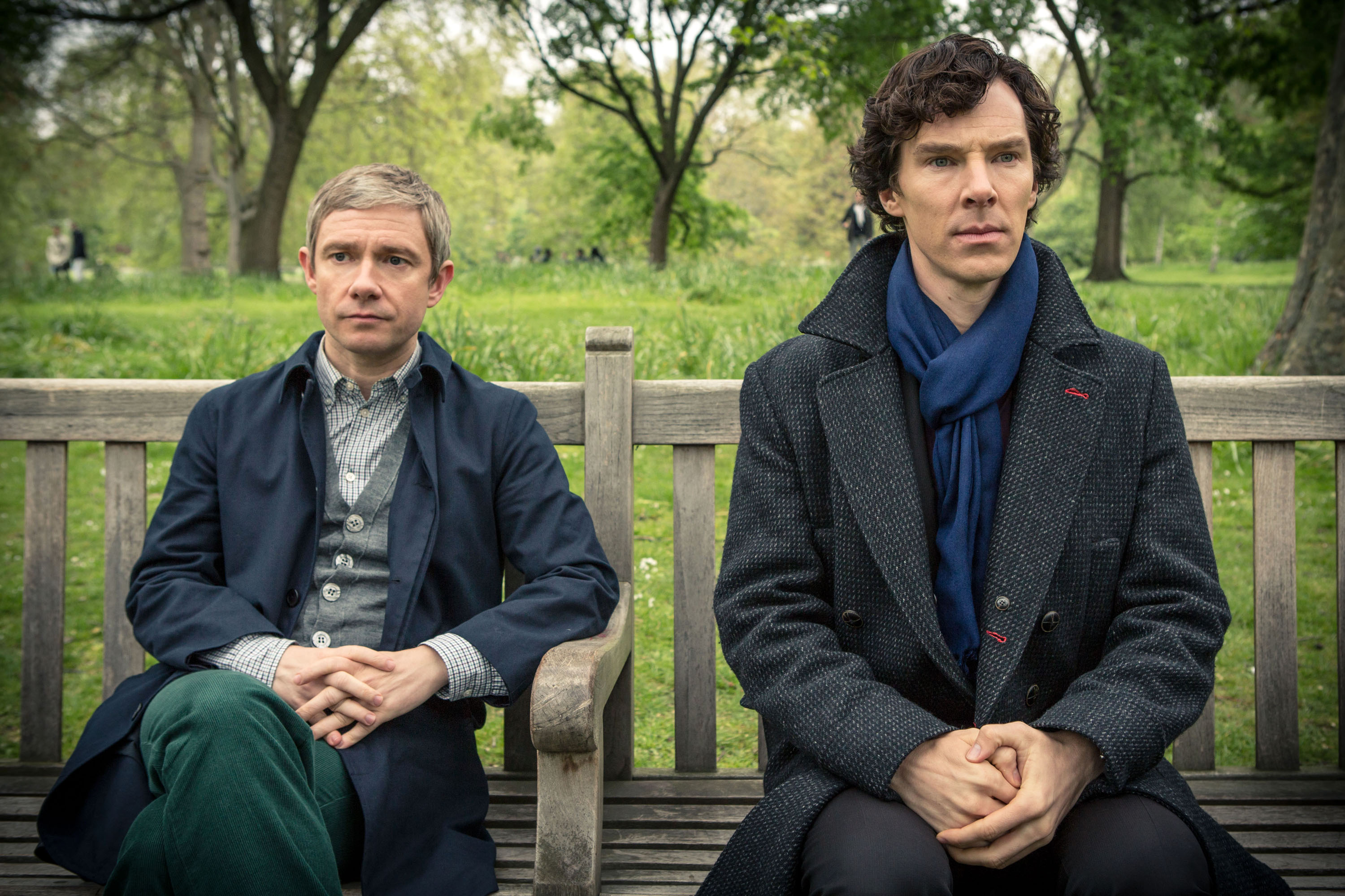 """Sherlock, Season 3 Sundays, Jan. 19 - Feb. 2 on MASTERPIECE on PBS """"The Sign of Three""""—Sunday, January 26, 2014 at 9:58 pm ET on PBS Sherlock faces his biggest challenge of all – delivering a Best Man's speech on John's wedding day! But all isn't quite as it seems. Mortal danger stalks the reception - and someone might not make it to the happy couple's first dance. Sherlock must thank the bridesmaids, solve the case and stop a killer! Shown from left to right: Martin Freeman as John Watson and Benedict Cumberbatch as Sherlock Holmes (C)Robert Viglasky/Hartswood Films for MASTERPIECE This image may be used only in the direct promotion of MASTERPIECE. No other rights are granted. All rights are reserved. Editorial use only."""